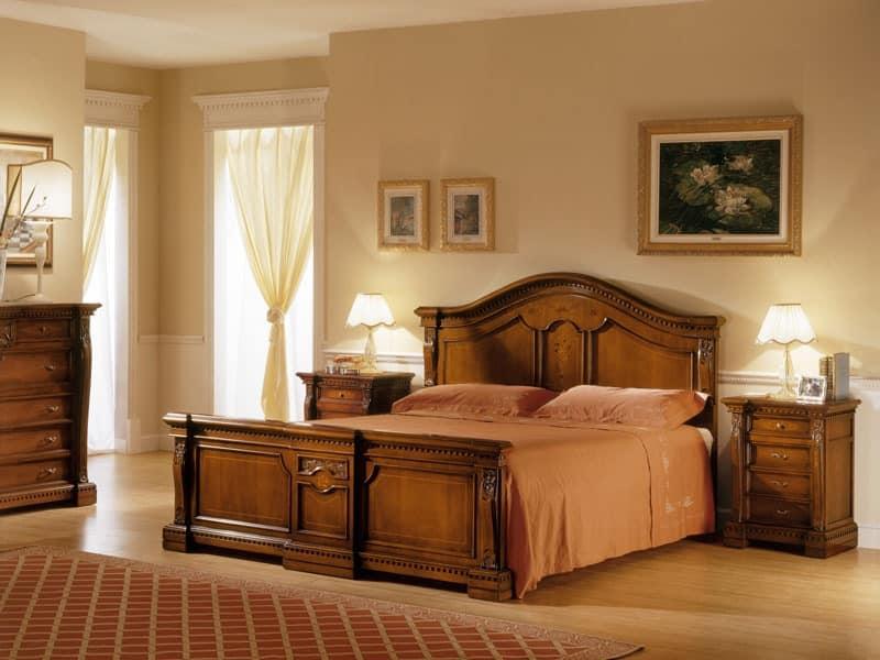 REGINA NOCE / Bedside table, Wooden bedside table, carved by hand, for Bedroom