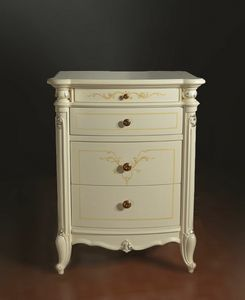 Roma lacquered nightstand, Luxurious bedside table, with hand-made decorations and carvings