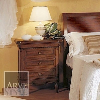 Salieri nightstand, Classic bedside table, with three drawers