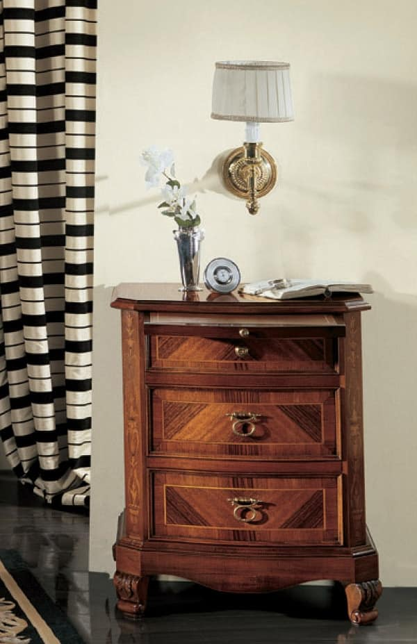 Settecento Bedside table, Bedside table with curved front, polished with shellac
