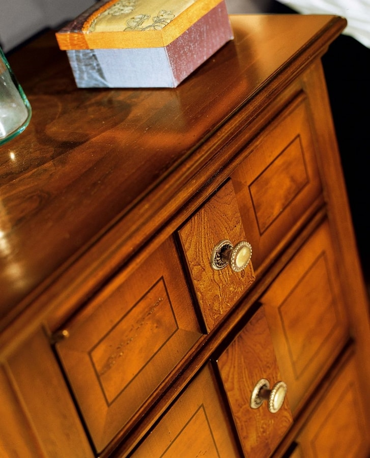 Sinfonia walnut nightstand, Wooden bedside table, classic style