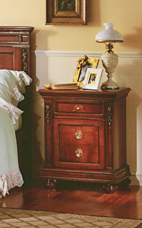 Voltaire bedside table, Bedside table in solid wood, with carvings, for hotels