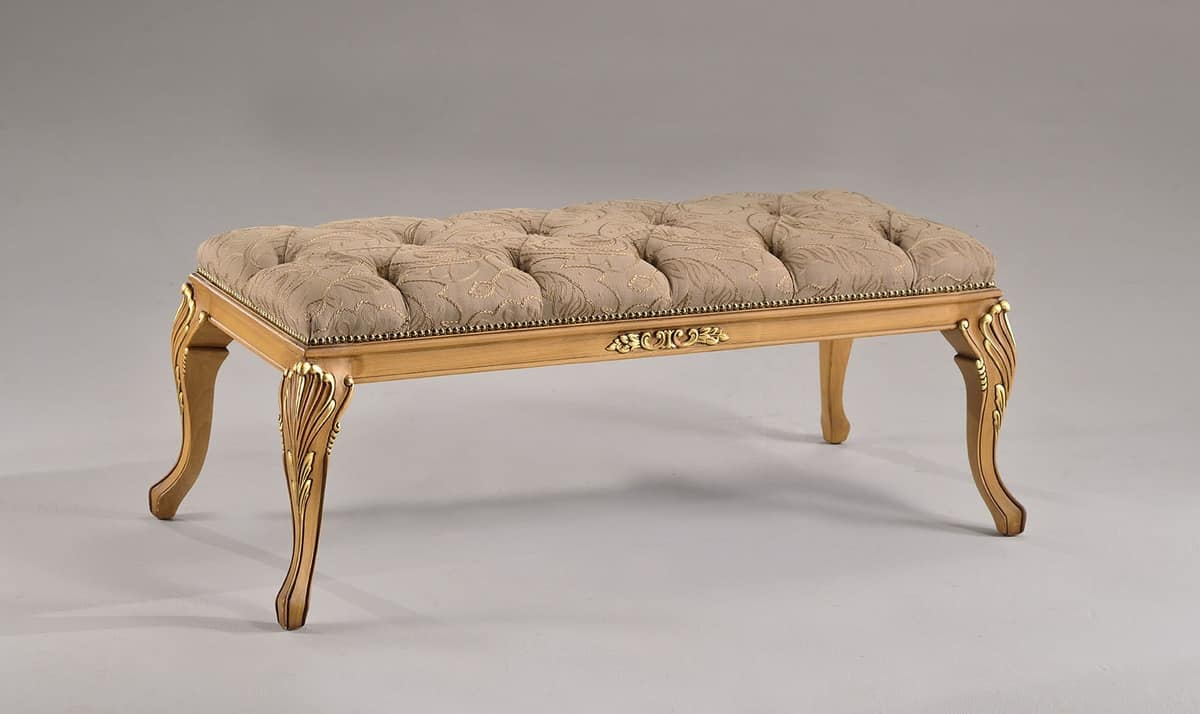 ALICE bench 8427L, Upholstered bench, structure made of beech, classic style