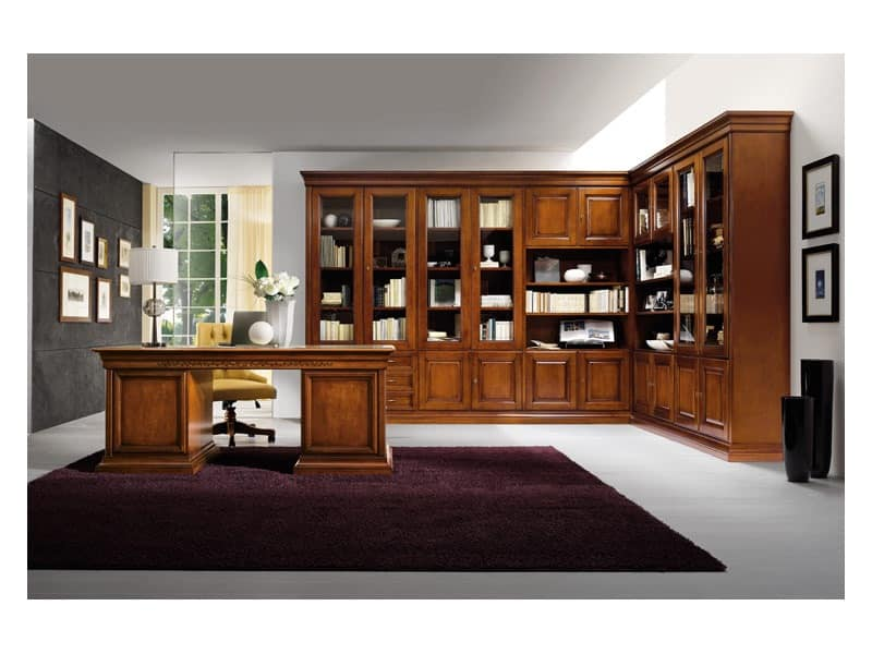 Art.0742/L, Corner bookcase made of wood, classic style