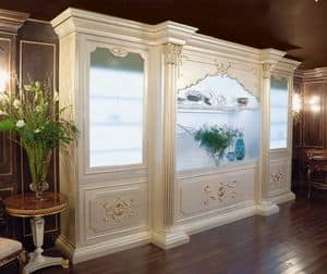 Art. 1059, Luxury bookcase with interior lighting, baroque style