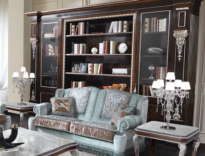 ART. 2940, Classic bookcase with silver finishes
