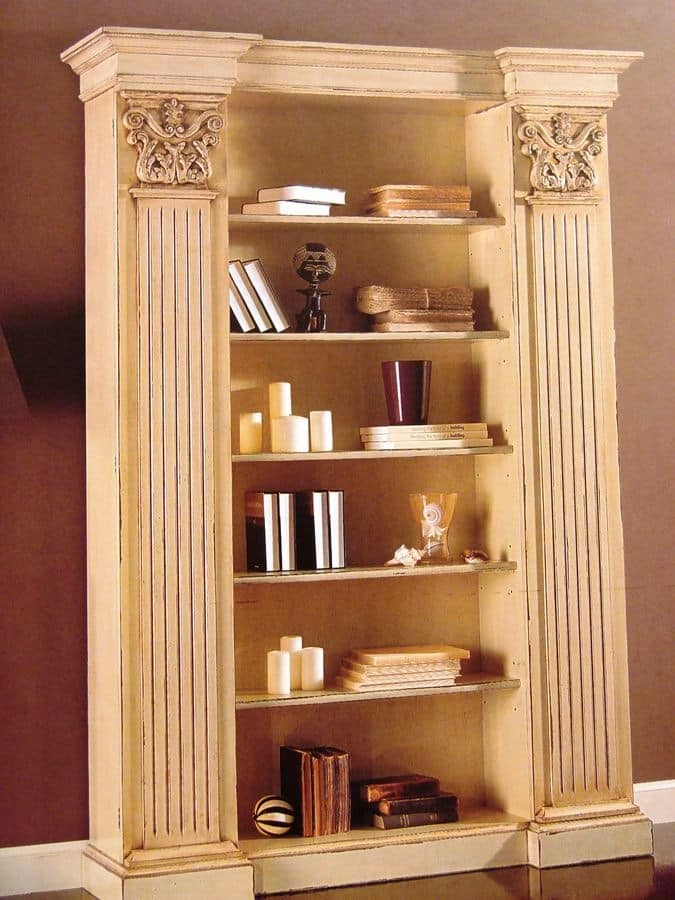 Art. 756, Lacquered bookcase, with capitals, for classic living room