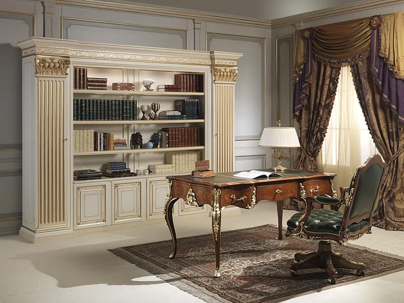 Art. 80/4 bookcase, Impressive bookcase in hand-carved wood, classic style