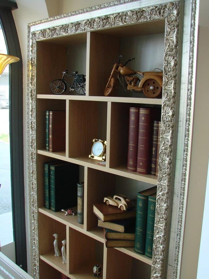 Art. 902, Hanging bookcase in brushed oak, for classics living rooms