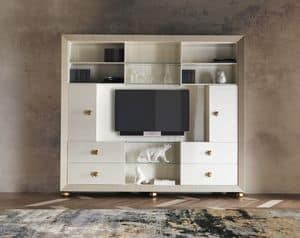 Art. CA488, Bookcase in wood with doors, pearly finish