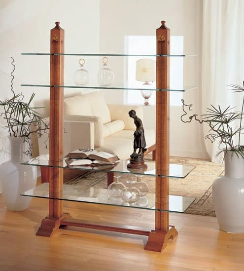D216 Fiordiloto bookcase, Library inlaid in solid wood, for Living room
