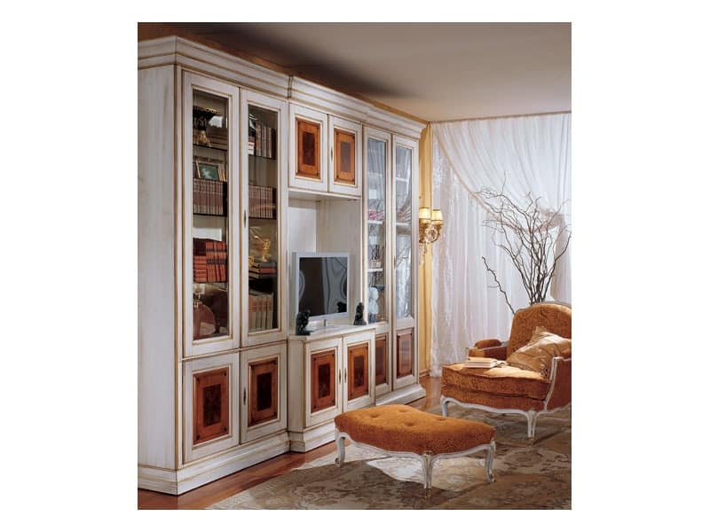 Display bookcase 731 A, Luxury classic bookcase in wood
