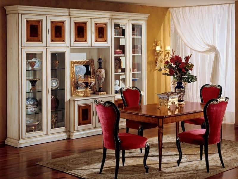 Display bookcase 731 A2, Luxury classic bookcase in wood