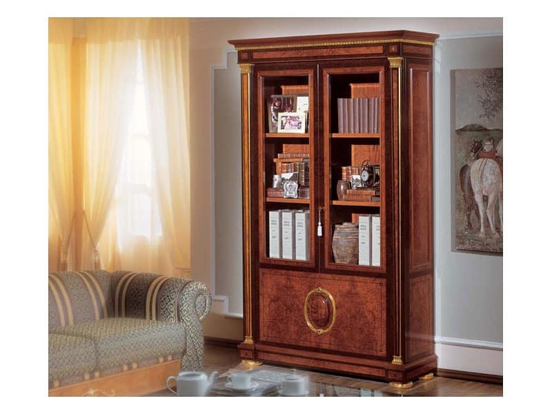 IMPERO / Bookcase with 2 doors, Bookcase made of burl ash, luxury classic style