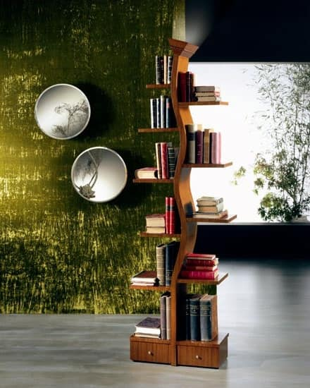 LB02 Giovane Albero bookcase, Wooden Library with a lamp, in the shape of a tree