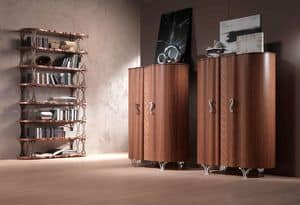 LB31 Mistral bookcase, Bookcase veneered walnut, bronze supports
