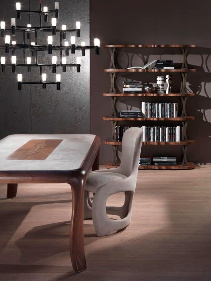 LB31 Mistral bookcase, Bookcase veneered walnut, bronze supports