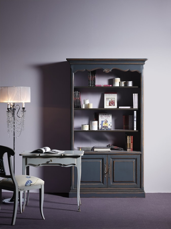 Lorena FA.0100, Bookcase with 2 doors and 4 shelves, in classic style