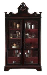 Lorraine BR.0052.A, Bookcase with 2 doors, 4 adjustable shelves, for classic luxury living rooms