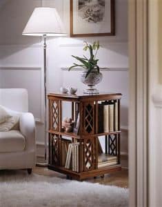 M 506, Rotating magasines-holder, in walnut, for classics living rooms