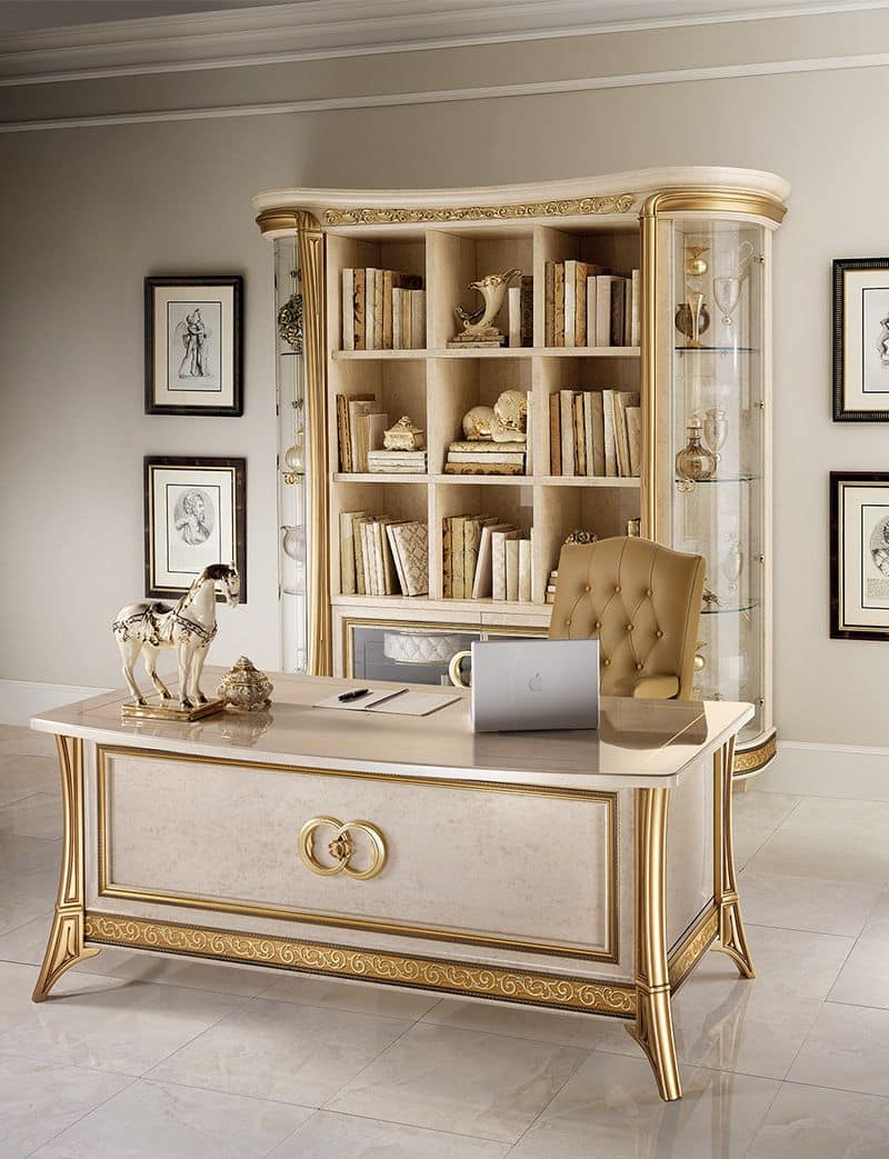 Melodia bookcase, Bookcase in classic style, with glass doors and shelves