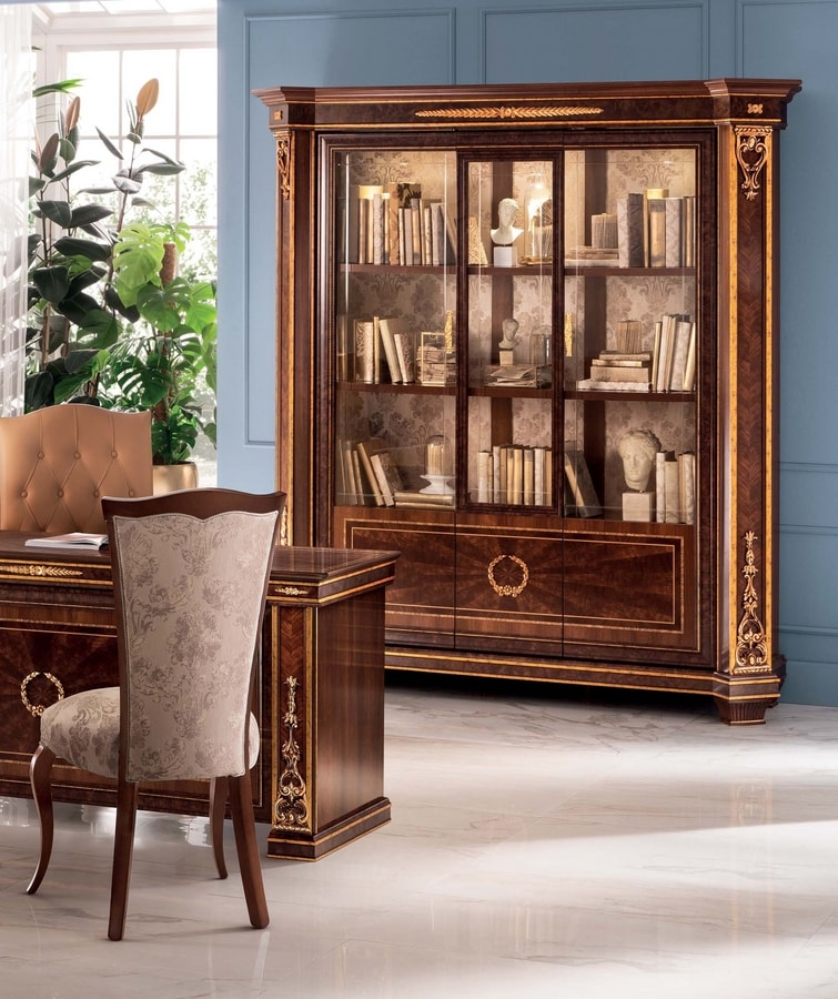 Modigliani 3 doors bookcase, Majestic bookcase with harmonious shapes