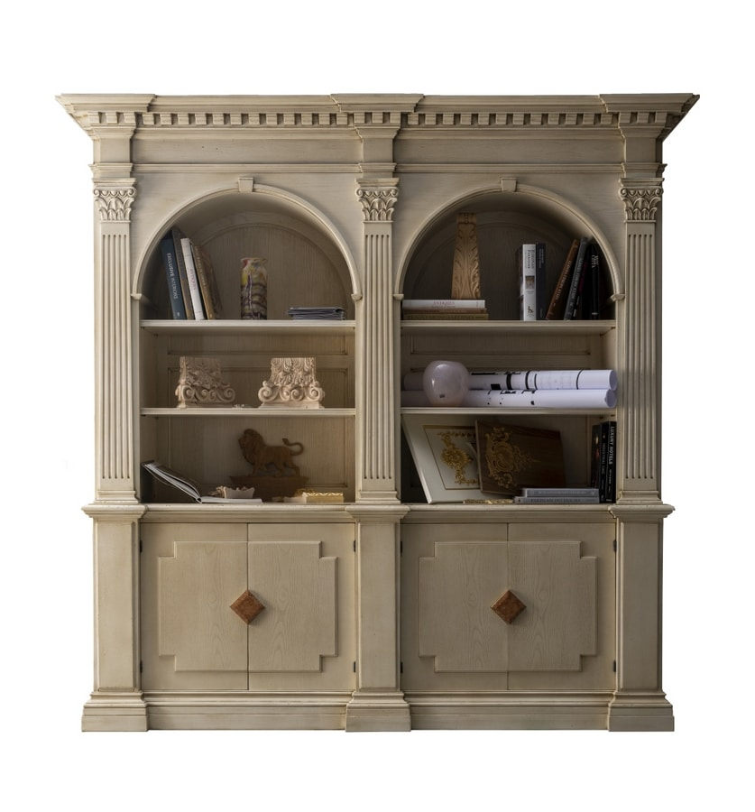 Montignoso ME.0129, Medici library with 2 doors with marble inserts, Corinthian capitals, small rooms retractable, in classically style