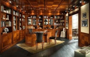 OFFICE, Library with wood paneling and false ceiling, in classic style