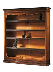 Perugino ME.0932.H, Walnut library inlaid with 4 adjustable shelves, for classic environments