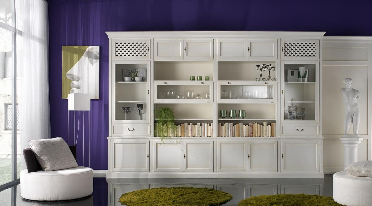 R 08, Library with lacquered cabinets with brass handles
