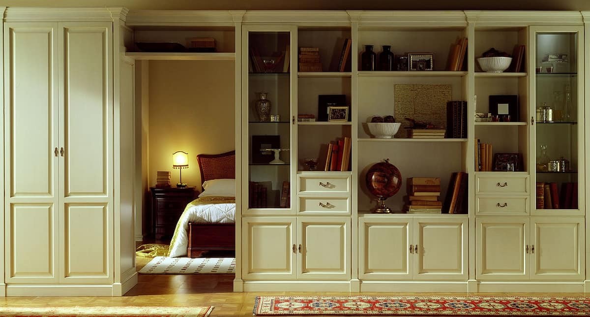 R 09, Classic bookcase, lacquered, with opening for passage