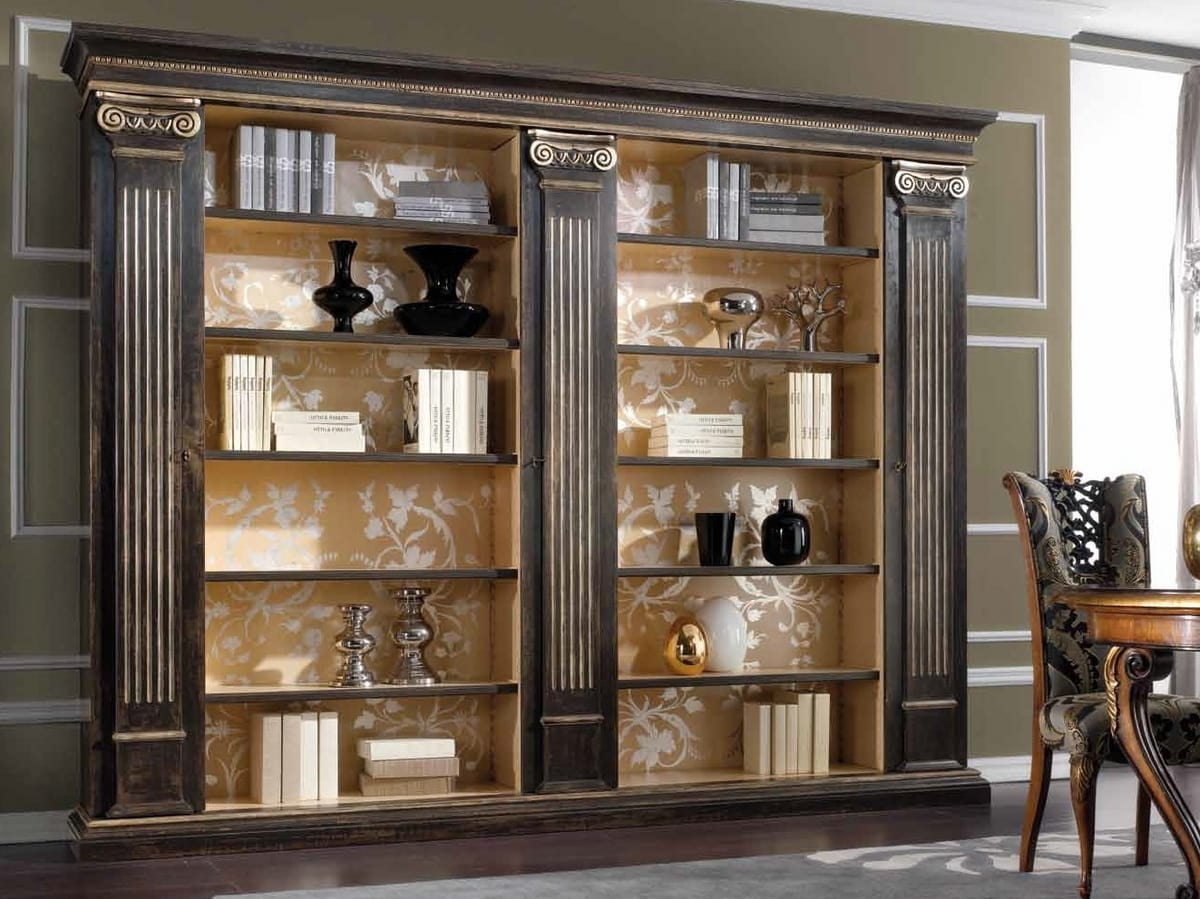 Royal bookcase, Classic style bookcase, with columns and capitals