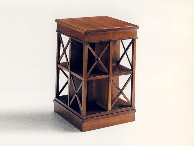 Stevenson, Classic bookcase in wood, swivel, in solid mahogany
