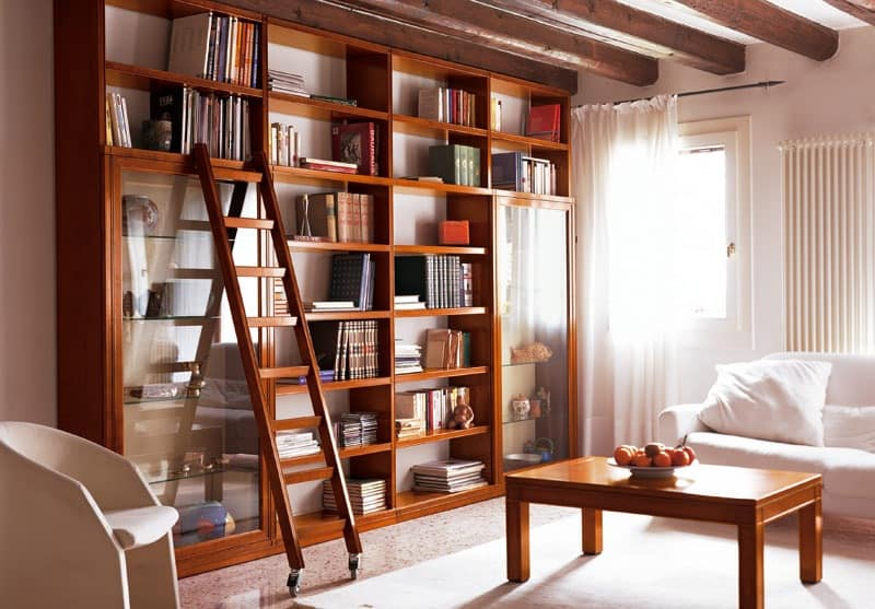 Elegant Bookcase Modular With Movable Ladder Idfdesign