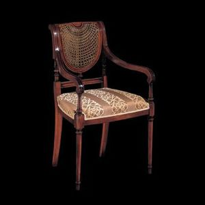 124P, Carved wooden chair with arms