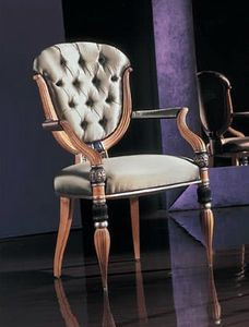 280P capitonnè, Classic chair with armrests