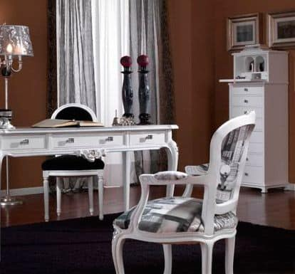3620 POLTRONCINA, Armchair white lacquered, silver leaf finish, Louis XV style