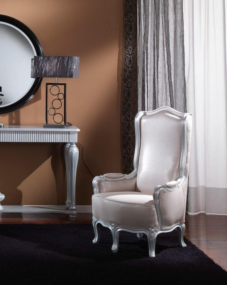 717 ARMCHAIR, Classic armchair for living room, silver leaf finising