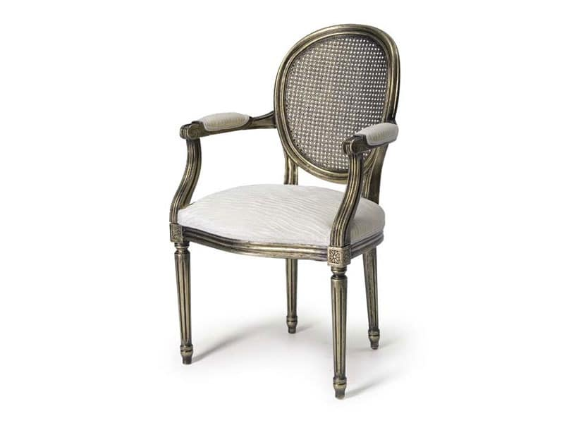 Art.105 armchair, Armchair with seat and backrest made of straw, Louis XV Style