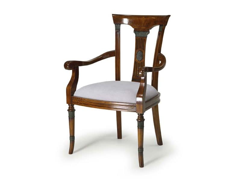 Art.187 armchair, Armchair made of wood with upholstered seat, classic style