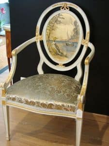 Art. 216, Classic armchair for dining room, with oval back