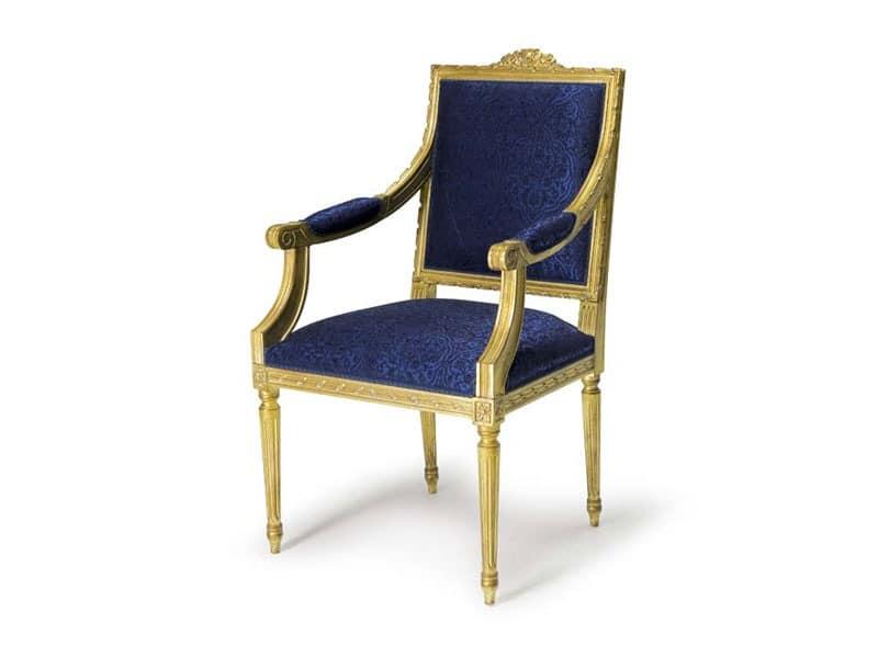 Art.442 armchair, Louis XVI style armchair, hand-carved wood