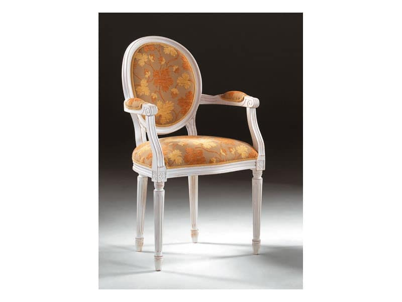 Art. 514/P, Chair with armrests, in luxurious style, padded armrests