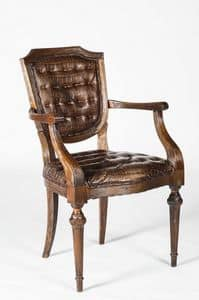 Art. 599/M, Chair covered in calf leather with armrests, classic style