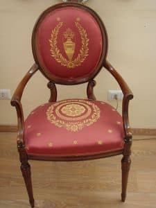 Art. 930, Classic armchair for dining room, decorated fabric
