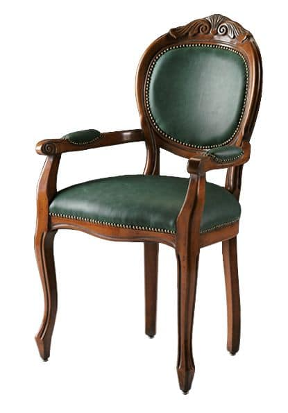 Bibbona ME.0987, Head of the table chair in beech wood, round back