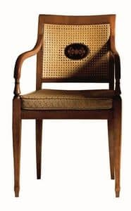 Cecilia FA.0155, Armchair with arms in solid wood, upholstered seat covered in fabric, mesh back, Louis XVI style