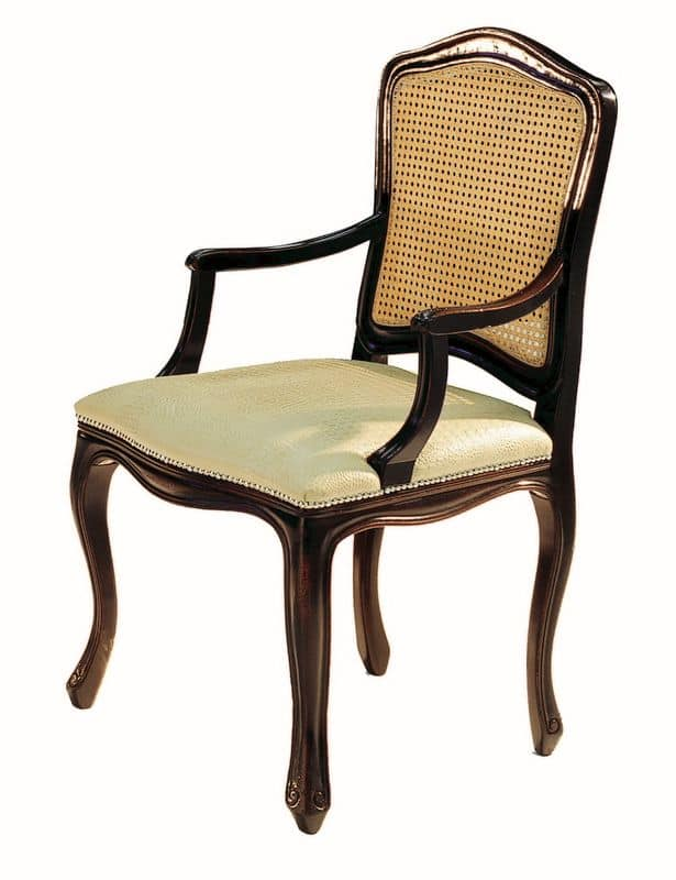 Da Vinci RA.0986, Black lacquered small armchair with seat upholstered in fabric and straw back