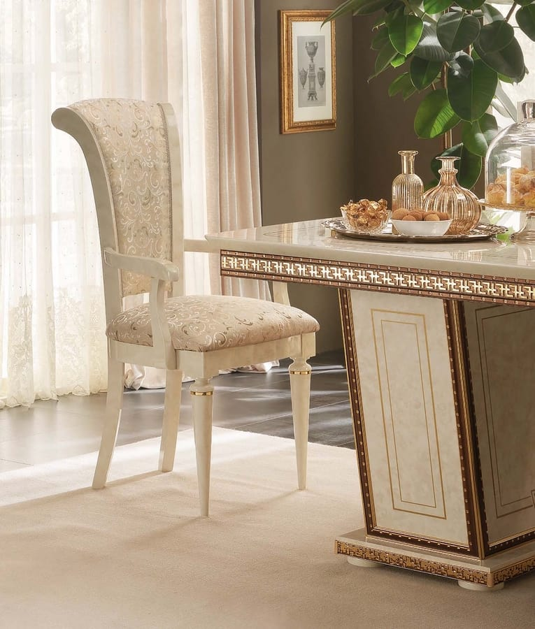 Fantasia chair with armrests, Chair with armrests, in classic style
