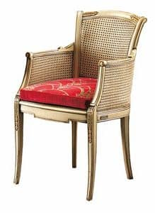 Isabella FA.0160, Cann� chair with padded seat, perfect for living rooms in classic luxury style